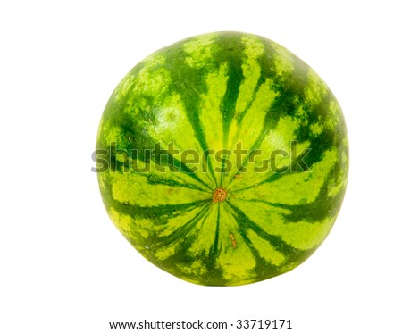 SMALL SEEDLESS WATERMELON ON A WHITE BACKGROUND
