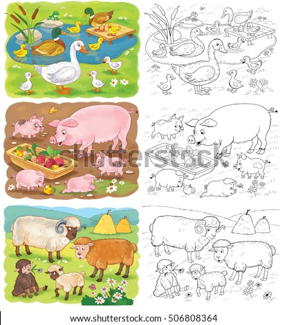 Small Set Of Coloring Pages With Cute Farm Animals Family Pigs Sheep