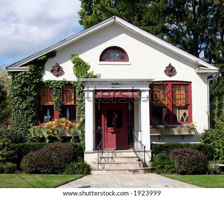 Small shop for antiques and home furnishings - stock photo