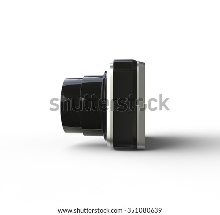Small silver camera on white background - side view, ideal for digital and print design.