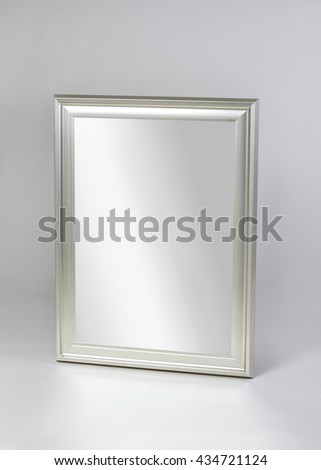 framed modern mirror. Small Silver Framed Modern Mirror Isolated On Gray Background F