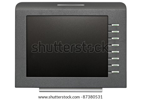 small size special LCD display with empty space for your advert isolated over white - stock photo