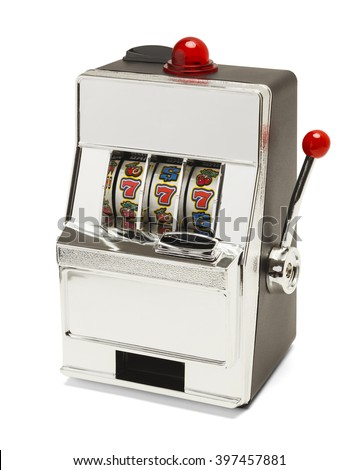 Small Slot Machine with Sevens Jackpot Isolated on White Background. - stock photo