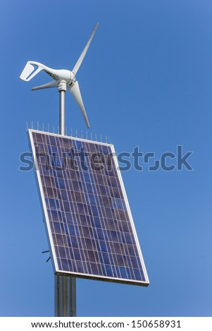 Small solar and wind energy combination unit