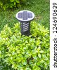 small solar power station in the garden - stock photo