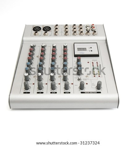 Small sound mixer console isolated - stock photo