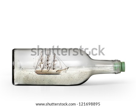 Small souvenir bottle with beach sand - stock photo