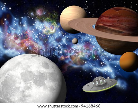 small spaceship between planets and stars - stock photo