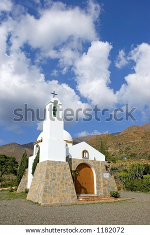 Small Spanish catholic church in the mountains of the Costa del Sol near Estepona
