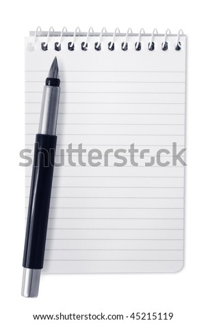 Small spiral notebook with fountain pen, isolated on white. - stock photo