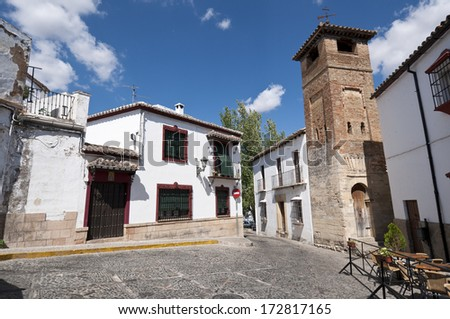 Small square in Ronda, Malaga, Andalusia, Spain