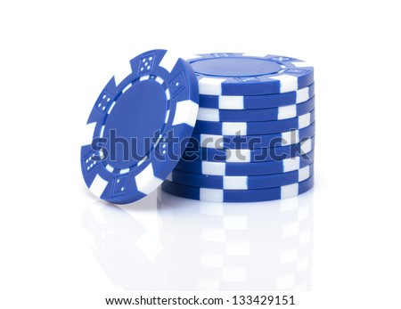Small Stack of Blue Poker Chips, closeup on white background