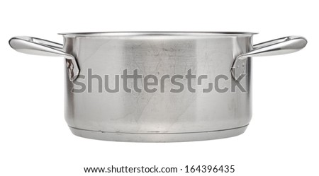 small stainless steel saucepan isolated on white background - stock photo
