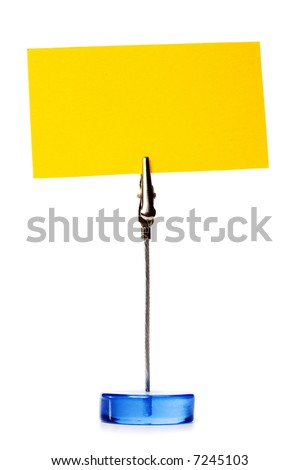 Small stand with blank business card isolated over white - stock photo