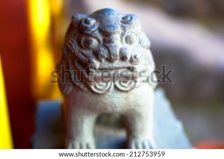 Small stone Shisa in Okinawa,Japan - stock photo