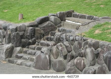 Small stone stairs - stock photo