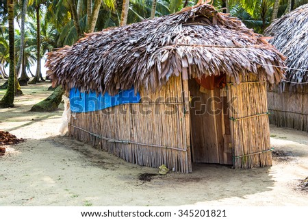 Small straw cottage on wonderful caribbean Island, Isla Aroma, San Blas Islands, Panama