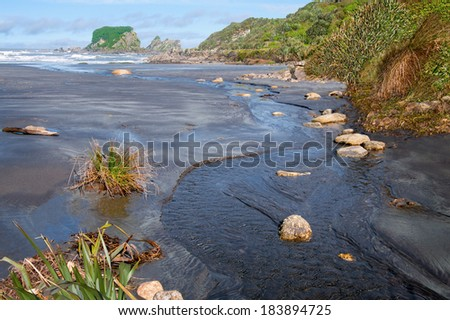Small Stream Flowing Into the Sea:  A fresh water stream reaches the Tasman Sea on the west coast of New Zealand�s South Island.  - stock photo