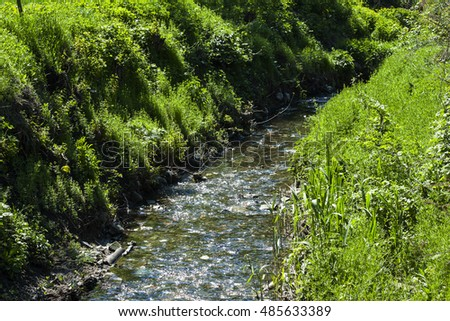 small stream of clear water