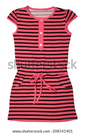Small striped dress for girls isolated on white background - stock photo