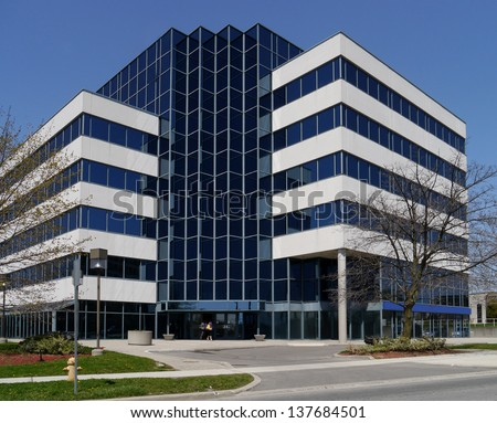 small suburban office building - stock photo