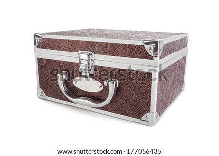 Small  suitcase, isolated on white.  - stock photo