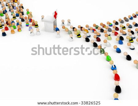 Small symbolic 3d figures receiving first aid, isolated