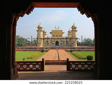 Small Taj Mahal Temple, Agra. View from the gate. India. - stock photo