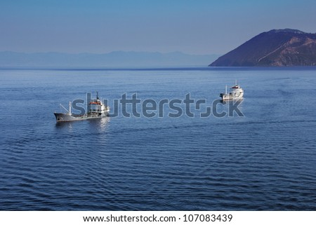 Small tankers ship at anchor - stock photo