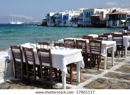 Small tavern in Small Venice of Mykonos island - stock photo