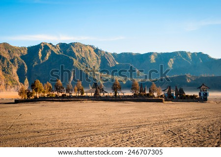 Small temple at volcanic plateau of Bromo mountain, East Java, Indonesia - stock photo