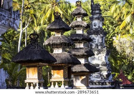 small temple complex of pagodas, Nusa Penida, Indonesia - stock photo