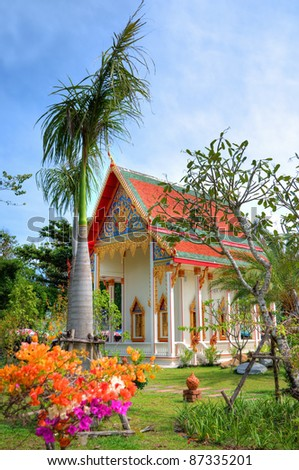 Small temple with red roof in Phuket Island, Thailand - stock photo