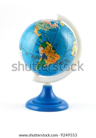 Small terrestrial globe americas side isolated on white - stock photo