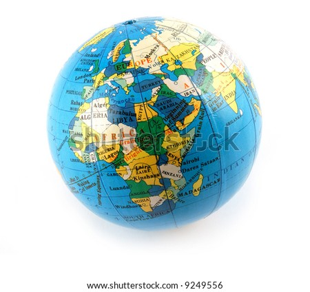 Small terrestrial globe europe and africa side isolated on white - stock photo