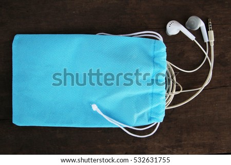 Small textile bags blue color