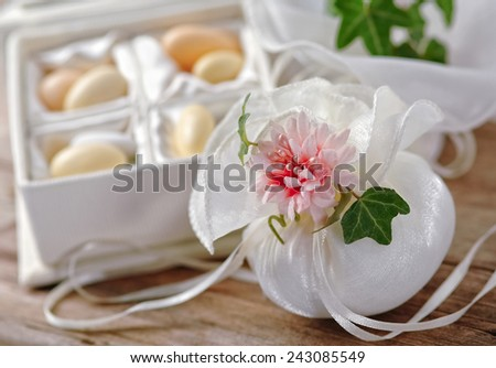 Small thank you gift for wedding reception - stock photo