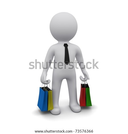small three-dimensional man with shopping bags on white background