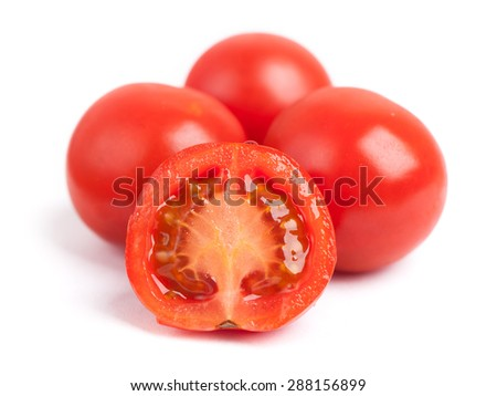 Small tomatoes isolated on white background - stock photo