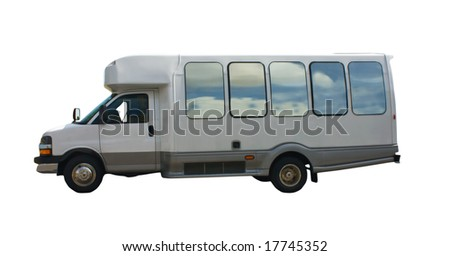 small tour bus with cloud reflections isolated on white