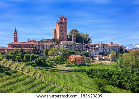 Small town and green vineyards on the hill in spring in Piedmont, Northern Italy. - stock photo
