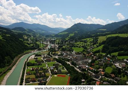 Small town in Alps (Austria) - stock photo