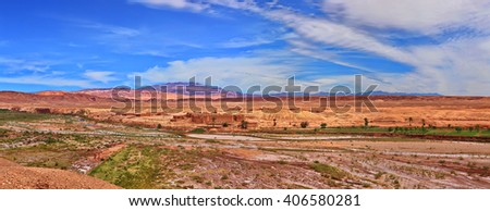 Small town in desert near the Kasbah Ait Benhaddou in south Morocco (Ouarzazate)
