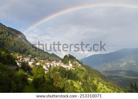 Small town in Graubunden canton, Switzerland - stock photo