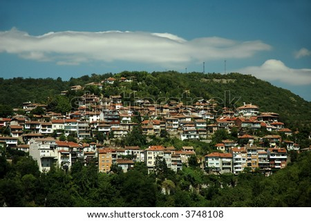 small town in mountains - stock photo