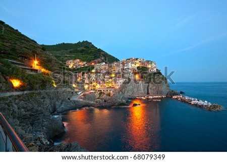 Small Town Manarola (Cinque Terre, Italy) after the sunset