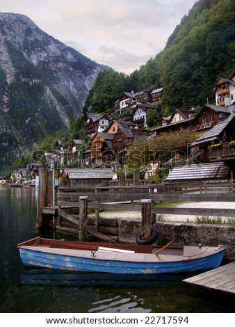 Small town of Hallstatt, Austria - stock photo