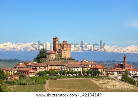 Small town of Serralunga D'Alba with medieval castle on the hills of Langhe in Piedmont, Italy. - stock photo