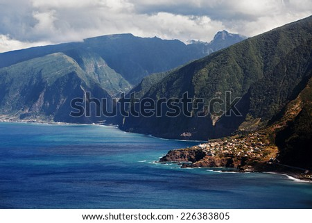 Small town on the shore of the ocean - stock photo