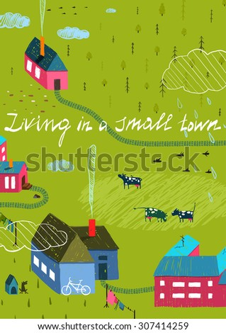 Small Town or Village with Forest and Little Houses Cows in Field. Living in the country colorful hand drawn sketchy feel illustration. Rural landscape. Raster variant. - stock photo